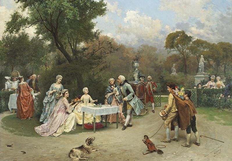Ricos esforzándose mucho para lograr el éxito. Princesa en el jardín de Versalles, Raimundo Madrazo