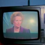 Margaret Thatcher on TV, Grafton Way, London, U.K., 1990. FOTO: R Barraez D´Lucca (Creative Commons)