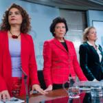 Las ministras María Jesús Montero, Isabel Celaá y Nadia Calviño. FOTO: Borja Puig de la Bellacasa / Moncloa